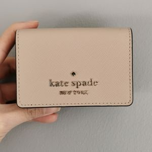 Kate Spade Micro Trifold Wallet Leather Warm Beige